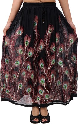 Shop Frenzy Printed Women's A-line Black Skirt