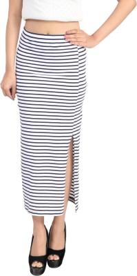 Shopdayz Striped Women's Straight Blue Skirt