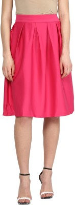Sassafras Solid Women's Pleated Pink Skirt at flipkart