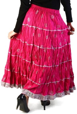 Jaipur Raga Floral Print Women's Regular Pink Skirt