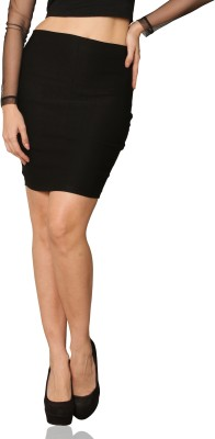Miss Chase Solid Womens Straight Black Skirt