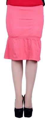 Lluminati Solid Women's Tiered Red Skirt