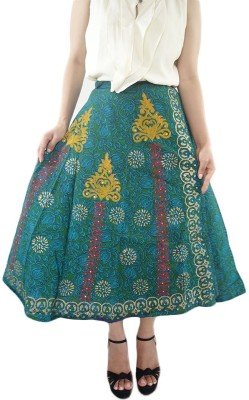ShopMore Printed Women's Wrap Around Dark Green Skirt