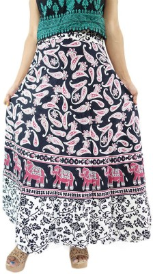 ShopMore Printed Women's Wrap Around White Skirt