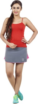 Restless Solid Women's Regular Grey, Pink Skirt