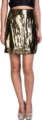 Sugar Her Solid Women's Pencil Gold Skirt