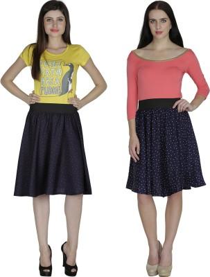 Shopingfever Printed Women's A-line Dark Blue, Dark Blue Skirt