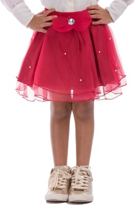 Classy Kids Solid Girl,s A-line Maroon Skirt
