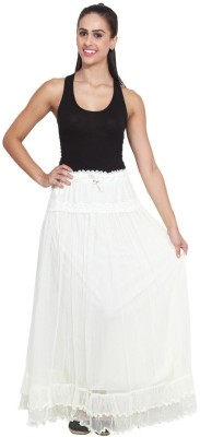NumBrave Self Design Women's Layered White Skirt