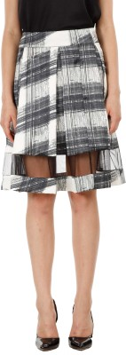 Fuziv Printed Women's Pleated Black Skirt