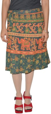 Shreeka Printed Women's Wrap Around Blue, Red Skirt