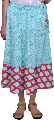 Chidiyadesigns Printed Women's A-line Green, Red Skirt