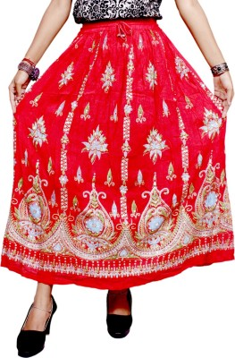 Krishna Mart Embroidered Women's Regular Red Skirt