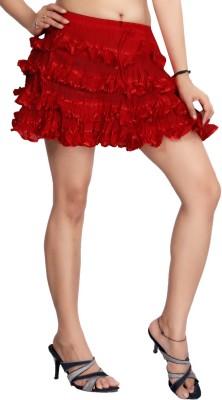 Carrel Solid Women's Broomstick Red Skirt
