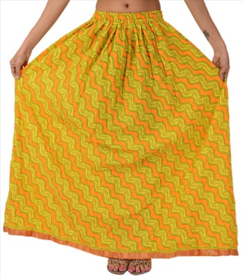 Skirts & Scarves Self Design Women's A-line Yellow Skirt