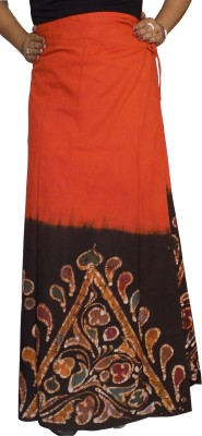 KheyaliBoutique Graphic Print Women's Wrap Around Orange, Black Skirt