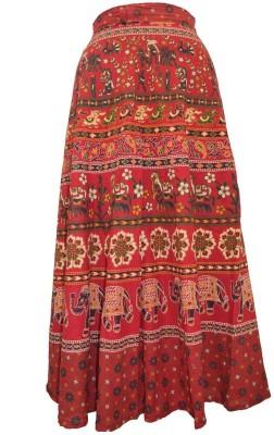 Marwari Fashion Printed Women's Wrap Around Red Skirt