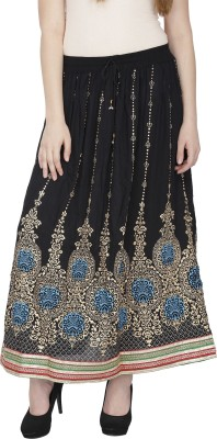 Famous by Payal Kapoor Printed Women's Gathered Black, Light Blue Skirt