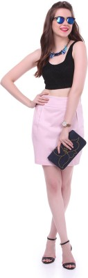 Colors Couture Solid Women's Straight Pink Skirt