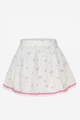 Pspeaches Self Design Girls A-line White Skirt at flipkart