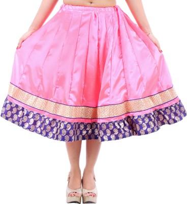 Desert Eshop Solid Women's Pleated Pink Skirt