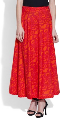 Very Me Floral Print Women's A-line Red Skirt