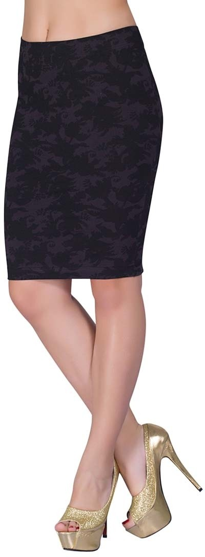 Voustyle Printed Womens Tube Black Skirt