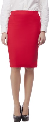 Purple Feather Solid Women's Pencil Red Skirt