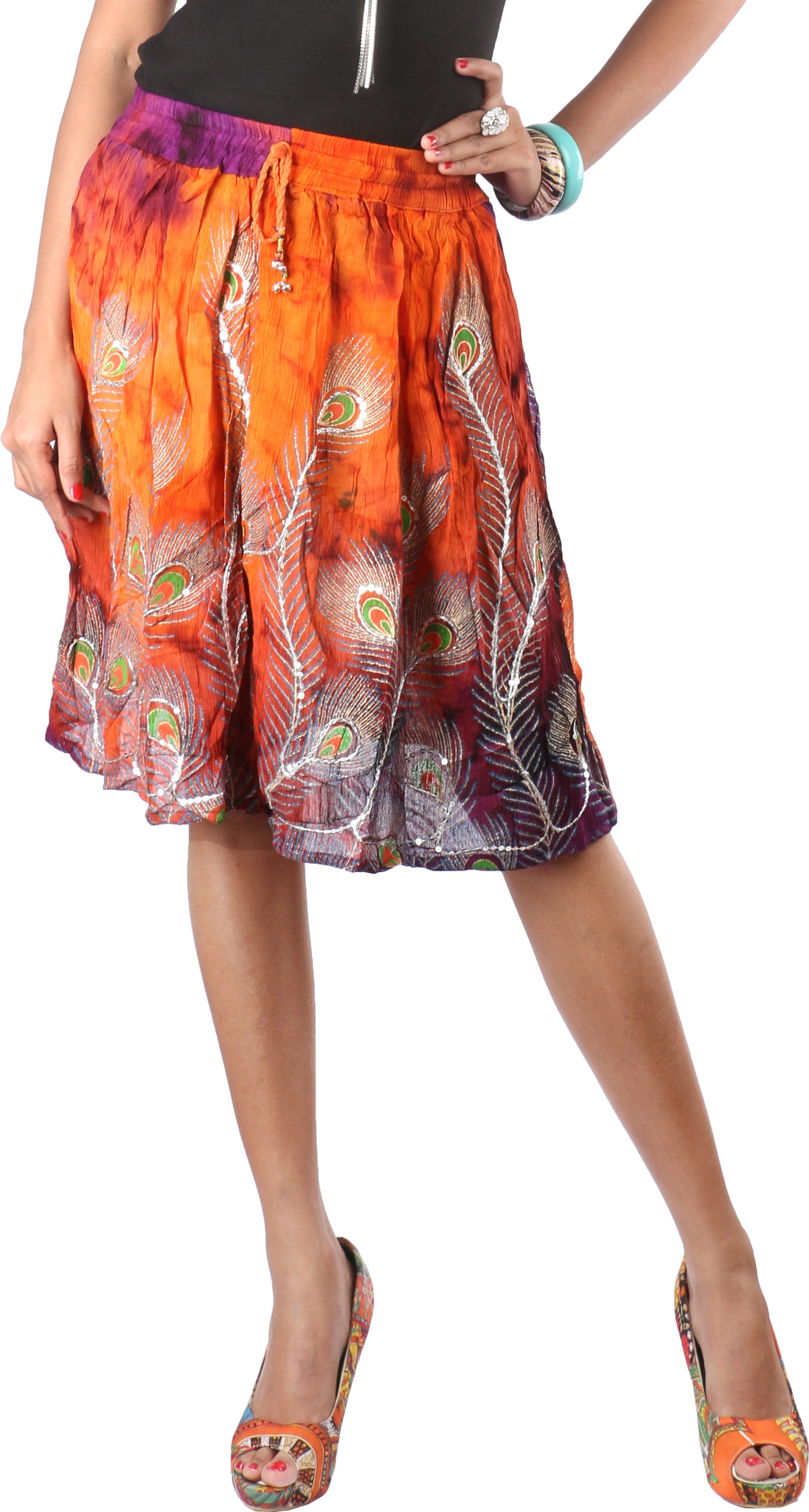 Indiankala4u Printed, Self Design Womens Broomstick Multicolor Skirt