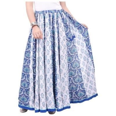 chidiyadesigns Printed Women's Gathered White, Blue Skirt