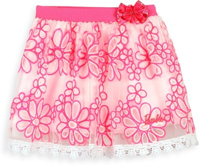 Barbie Embroidered Girl's A-line Pink Skirt