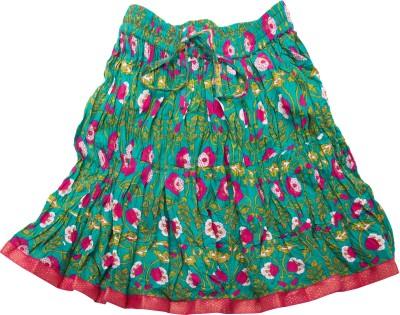 Sunshine Floral Print Girl's A-line Blue Skirt