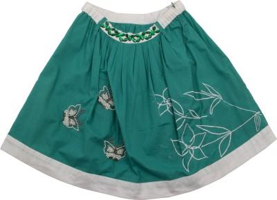 Pure Nautanki Printed Girl,s A-line Green Skirt