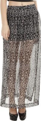 Fuziv Printed Women's Pleated Grey Skirt
