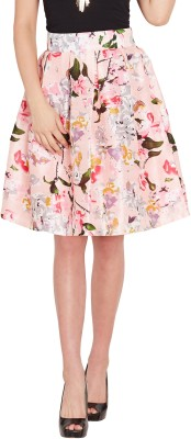 Sassafras Floral Print Women's Pleated Pink Skirt at flipkart