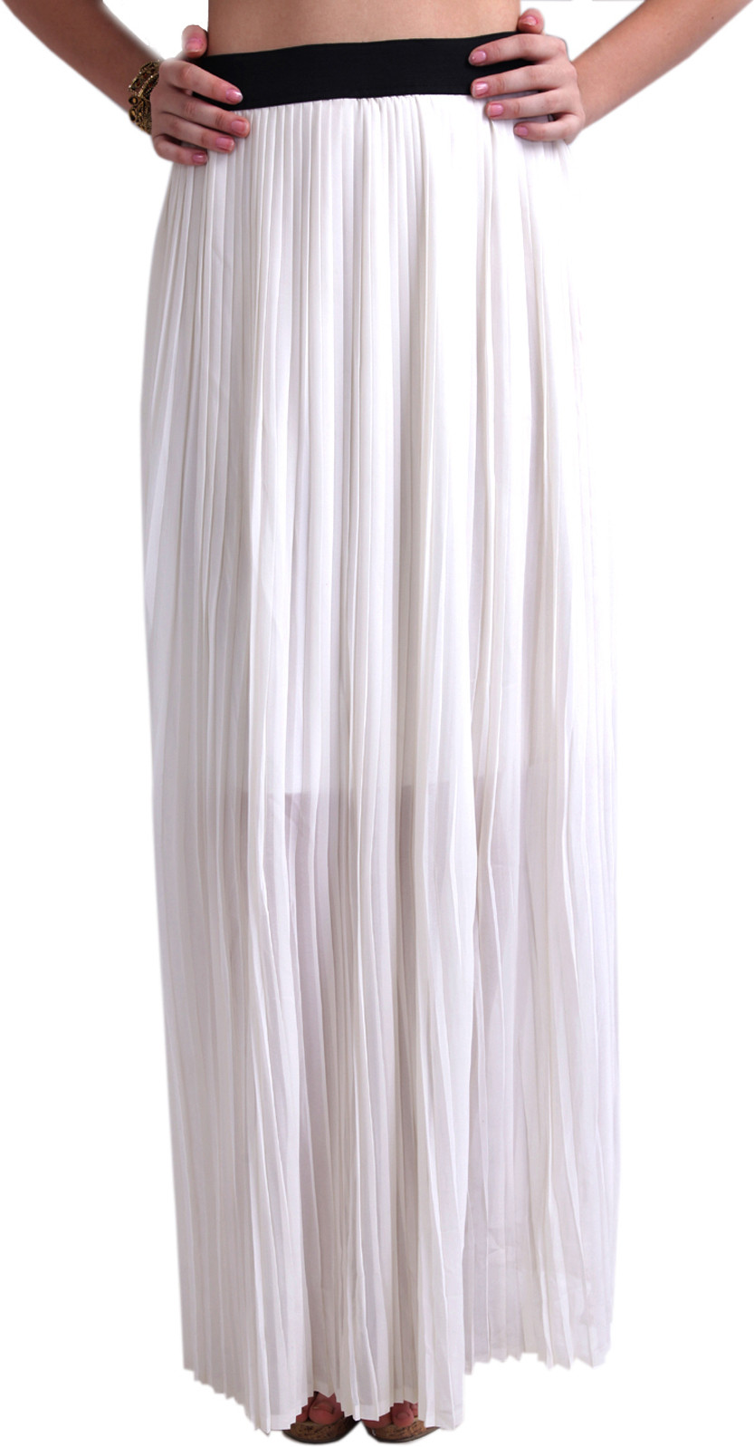 Ridress Solid Womens Pleated White Skirt