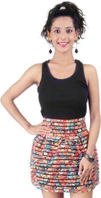 LondonHouze Floral Print Women's Bubble Multicolor Skirt