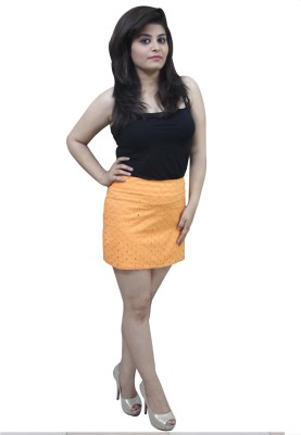CrazeVilla Self Design Women's Straight Orange Skirt