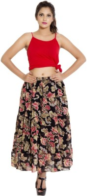 Goodwill Impex Printed Women's Straight Multicolor Skirt