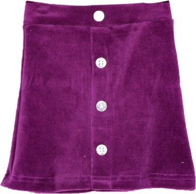 Lil Orchids Solid Baby Girl's Straight Purple Skirt