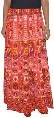 Shreeka Printed Women's Wrap Around Red, White Skirt