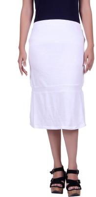 Lluminati Solid Women's Tiered White Skirt