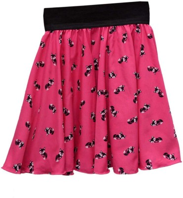 GraceDiva Printed Girl's Pleated Pink Skirt