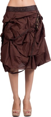 Ebry Solid Women's Layered Brown Skirt