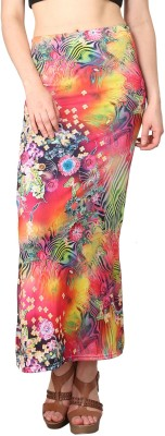 Shararat Floral Print Women's Straight Multicolor Skirt