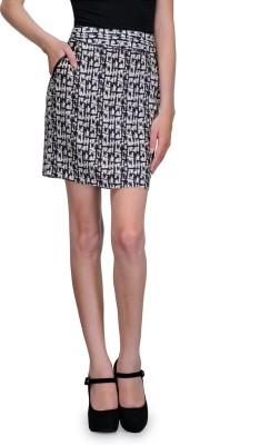 Kiosha Printed Women's A-line Black, White Skirt