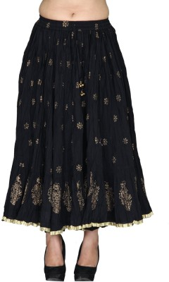 Chhipaprints Printed Women's Regular Black Skirt