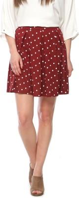 Vvoguish Printed Women's Regular Maroon Skirt