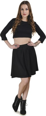 Five Stones Solid Women's Pleated Black Skirt