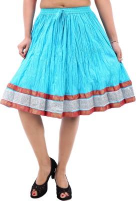 Desert Eshop Solid Women's A-line Blue Skirt